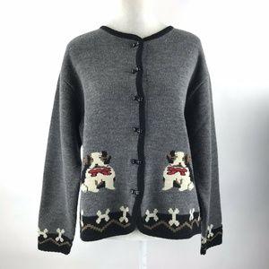 Tally-Ho Womens Large Wool Dog Cardigan Sweater L